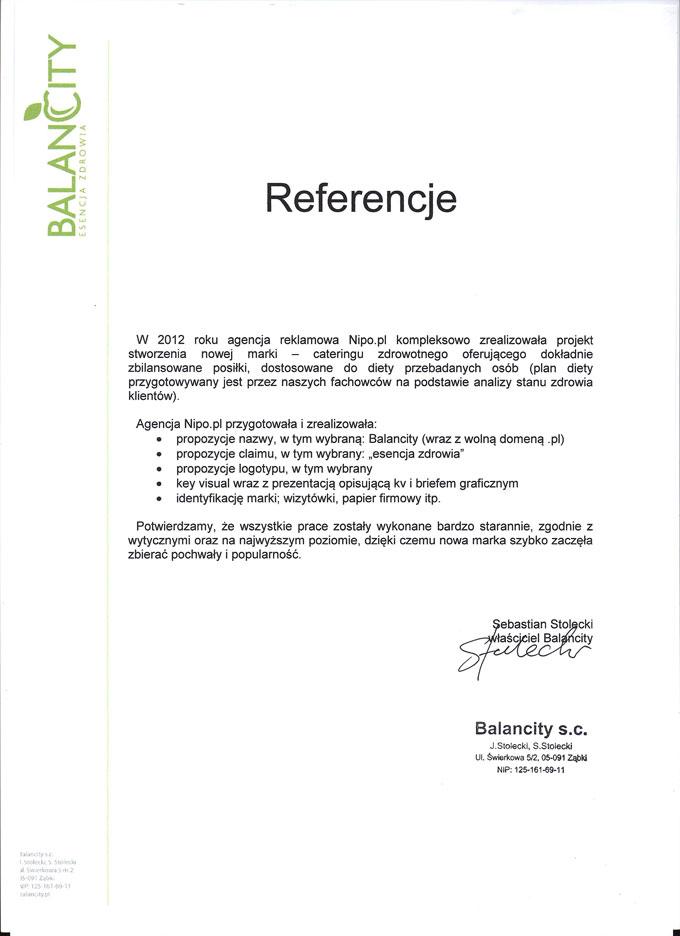 Naming, claim, branding – referencje Balancity