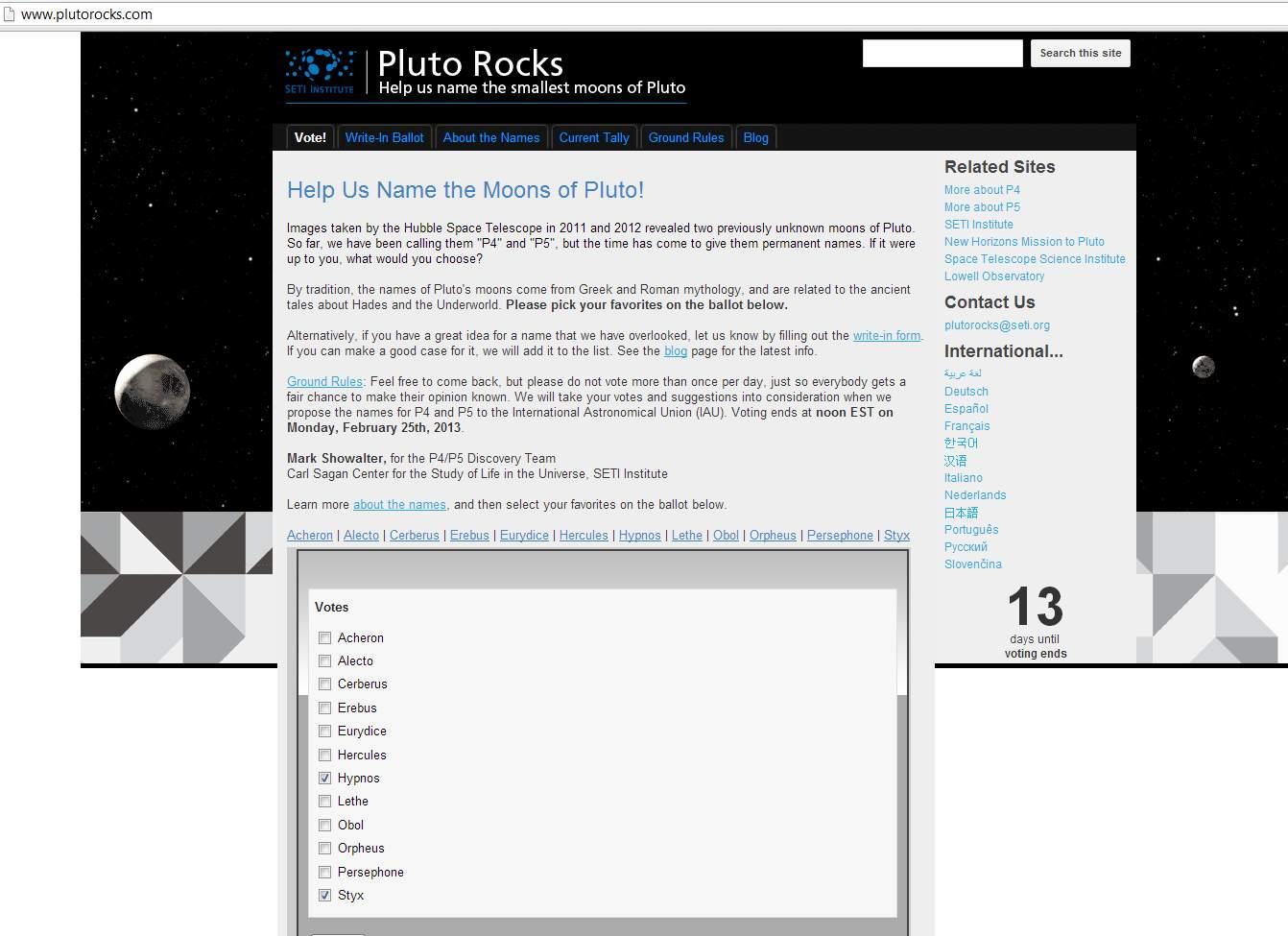 Wybierz nazwy dla księżyców Plutona!